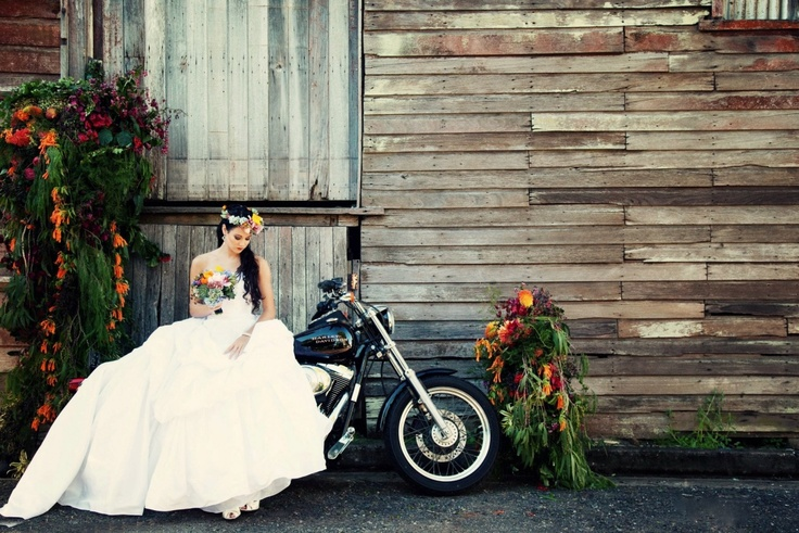 Harley davidson Bride Designed by Julia rose Wedding and Event Flowers by Julia rose