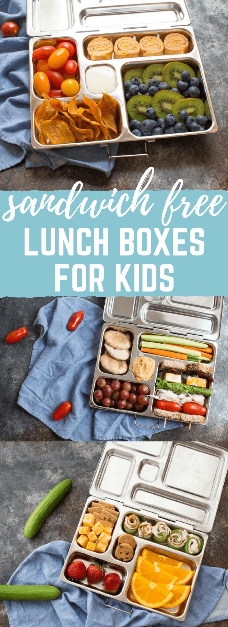 Sandwich free kid friendly lunch box ideas the whole family will love. These tasty bento style lunch boxes are balanced for nutrition, color, and variety the kids will love them. @villagefarms #kidsinthekitchen #kidseatright #kitchenkids