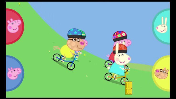 peppa pig sports day long jump tug of war bike race video game 粉红猪小妹 Pep...