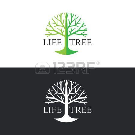 logo tree: Life tree logo circle vector design - green tree tone on white background and white tree on dark grey background