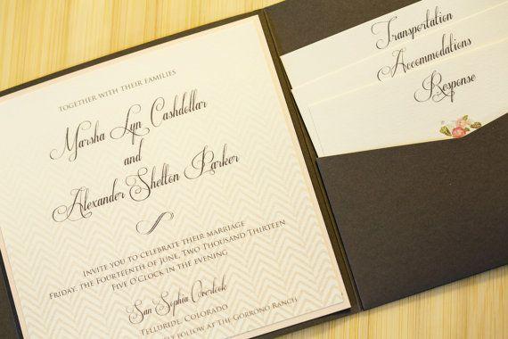 Chevron Ombre Peach & Gray Pocket Fold Wedding Invitation - Customize Your Colors on Etsy, $99.00