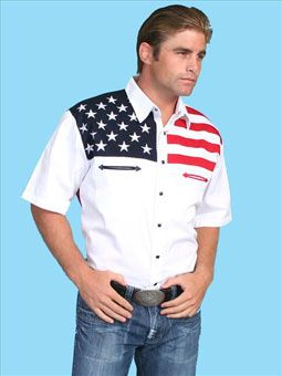 Scully Men's Red, White & Blue Color Block S/S Shirt w/Stars & Stripes