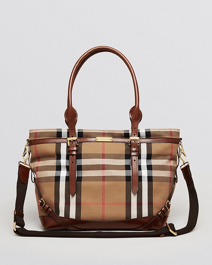 Designer Diaper Bags // Burberry Diaper Bag Tote