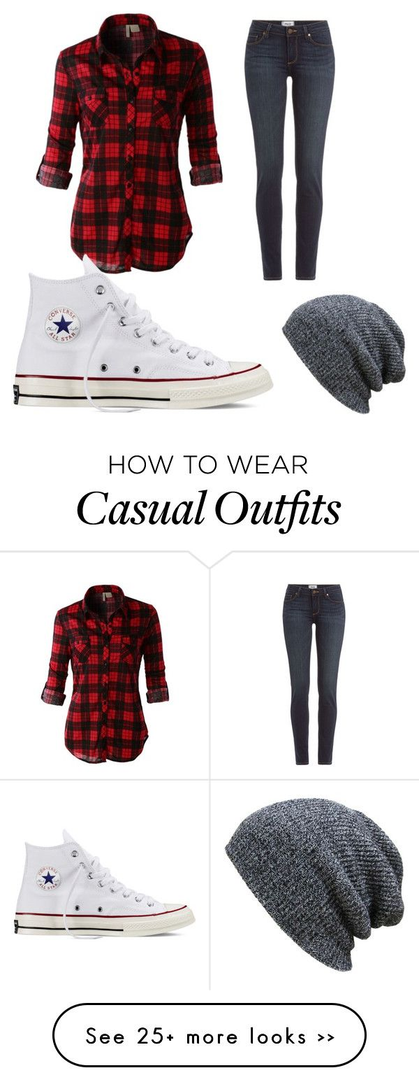"""""""Casual day outfit"""" by courtzd on Polyvore featuring LE3NO, Paige Denim and Converse"""