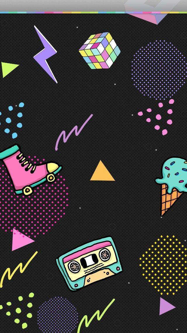 80's Wallpaper roller skate, cube, cassette tape, neon