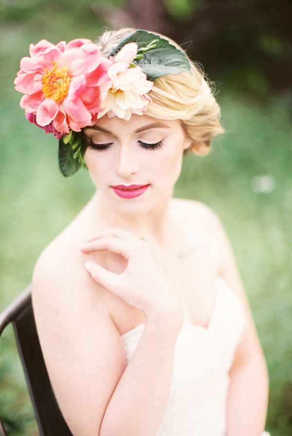 Peony Floral Crown | Jessica Scott Photography | Summer Sunshine and Citrus Wedding Inspiration in Pink and Yellow