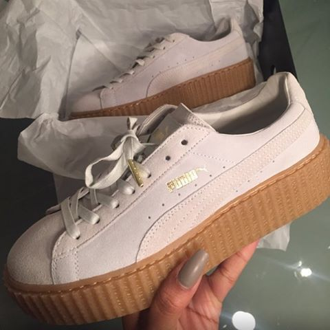 """@sherlinanym flexing with the new Puma by Rihanna Creeper """"Cloud Pink/Oatmeal"""" - Would you #rock or #drop em❓ - #LocoKickz"""