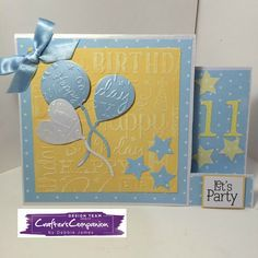 Stepper card made with Sara Signature Birthday Party Collection - designed by Debbie James #crafterscompanion