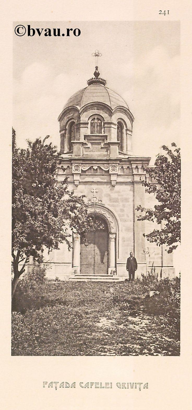 """Faţada Capelei Griviţa, 1902, Romania. Ilustrație din colecțiile Bibliotecii Județene """"V.A. Urechia"""" Galați. http://stone.bvau.ro:8282/greenstone/cgi-bin/library.cgi?e=d-01000-00---off-0fotograf--00-1----0-10-0---0---0direct-10---4-------0-1l--11-en-50---20-about---00-3-1-00-0-0-11-1-0utfZz-8-00&a=d&c=fotograf&cl=CL1.43&d=J243_697980"""
