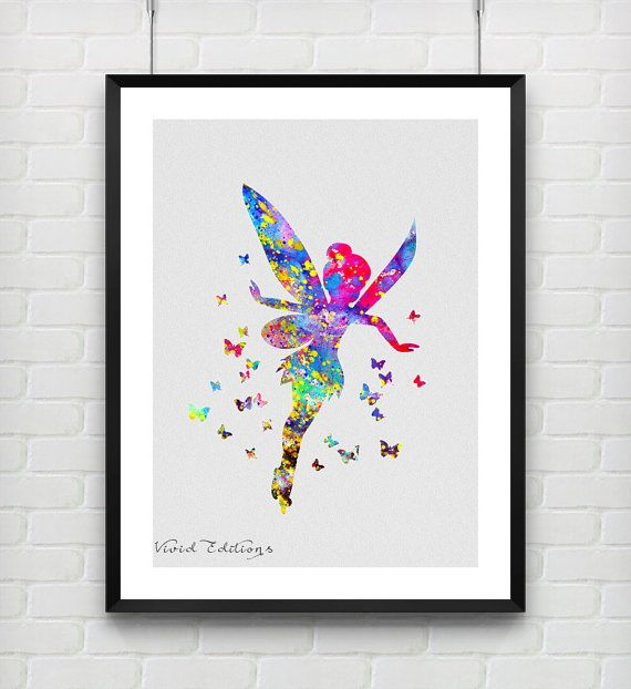 Tinker Bell Disney Fairy Watercolor Print Peter by VIVIDEDITIONS