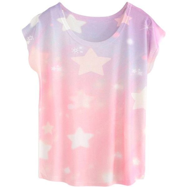 White Trendy Womens Stars Printed Short Sleeve Crew Neck T-shirt ($13) ❤ liked on Polyvore featuring tops, t-shirts, shirts, tees, star shirt, white tee, white crew neck t shirt, short sleeve t shirts and white shirt