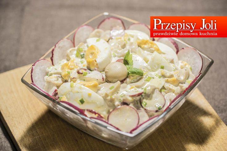 SZYBKA SAŁATKA - wystarczy chwila żeby przygotować pyszną sałatkę z pieczarkami marynowanymi, rzodkiewką, szczypiorkiem i jakiem.