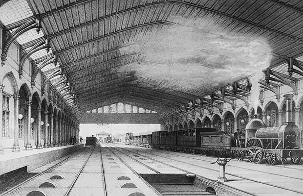 Bristol Temple Meads Station, 31 Aug 1840  At the time it was opened, Bristol Temple Meads - the western terminus of the Great Western Railway - was the largest single-span building ever constructed.