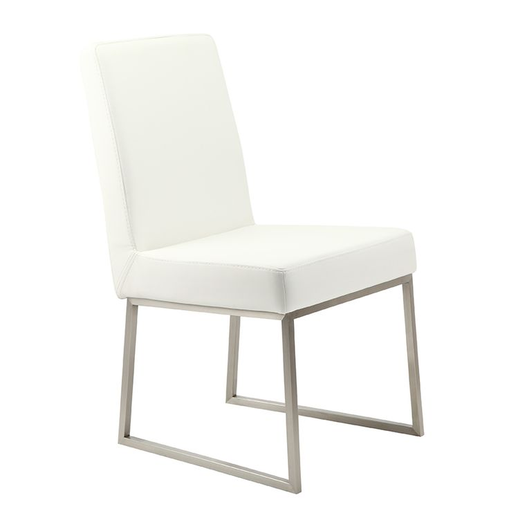 Looking for a versatile dining room chair set? Check out the elegant white polyurethane upholstery on the Tyson Dining Chair (Set of 2). This upholstery covers dense seat and back cushions, while the twin steel support bases are sturdy and balanced....