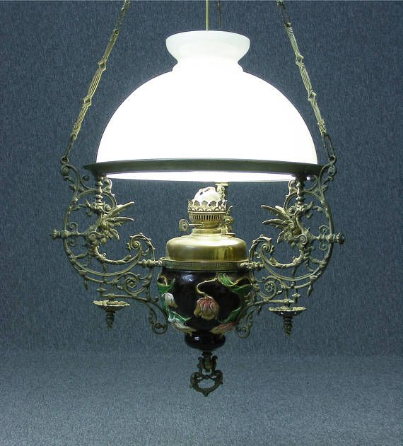 Light large antique majolica hanging oil lamp ceiling light pendant