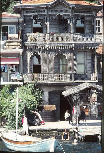 Family relaxing in their Yali (water front home on the Bosphorus), Turkey. 1975