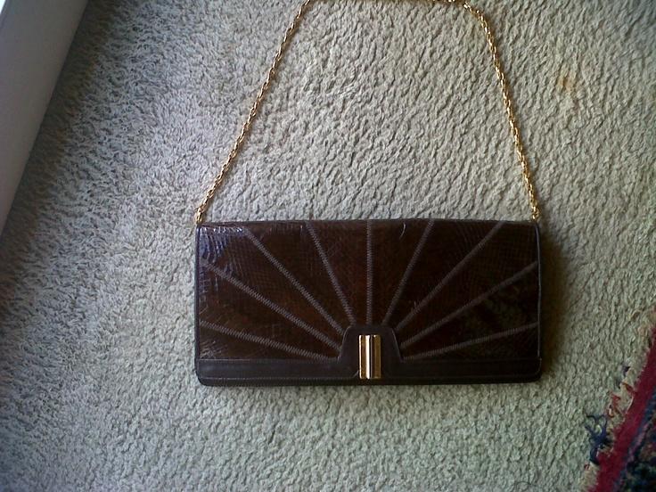 60s Italian leather craftsman. Python Pochette with golden chain shoulder handle