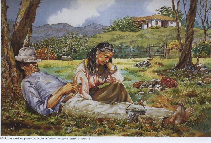 La siesta (una pausa en la diaria fatiga). Acuarela. 37 x 56 cms. 1989 Germán Vieco Betancur