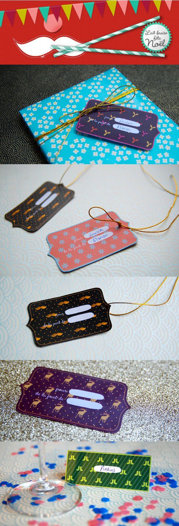 Etiquettes pour les fêtes / Labels (also mustache), free printable