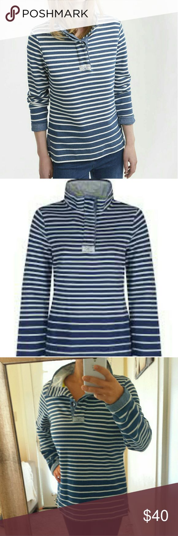 Joules Classic Blue Striped Pullover Sweatshirt Excellent condition,  heavier fabric No size tag,  but fits like US large  We've taken the Cowdray, our most-loved sweatshirt, and given it a salt wash finish. The result is quite simply your favourite sweatshirt, softly aged and lived in. Full of all the well considered details you've come to know and love (but still delight in discovering again and again). Joules Tops Sweatshirts & Hoodies