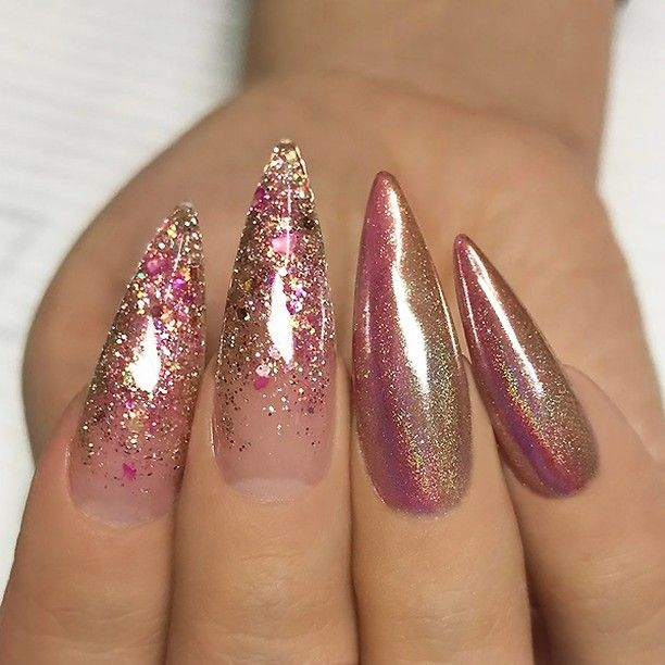 """4,462 Likes, 17 Comments - TheGlitterNail  Get inspired! (@theglitternail) on Instagram: """"REPOST - - • - - Gold/Pink Holo and Glitter Ombre on long pointed Nails ⭐✨ - - • - -  Picture and…"""""""