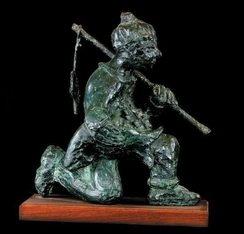 Half-kneeling Fisherman * Half-knielende Visserman - Bronze - Father Frans Claerhout