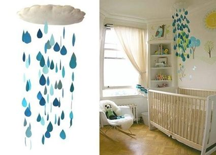 Móviles para cuna: Rain Mobiles, Bebe, April Shower, Cloud Craftidea, Baby Rooms, Shower Curtains, Raindrop Mobiles, Diy Projects, Kids Rooms