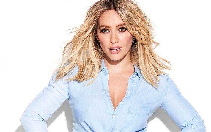 Télécharger fonds d'écran Hilary Duff, l'actrice Américaine, portrait, chemise bleue, maquillage, belle femme