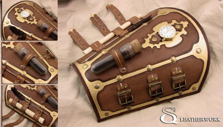 Steampunk Bracer by SqLeatherwork.deviantart.com on @deviantART