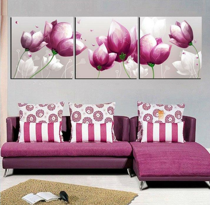 Free Shipping canvas painting wall pictures 3 panel canvas art oil painting purple style art home decor wall art 5pcs/set