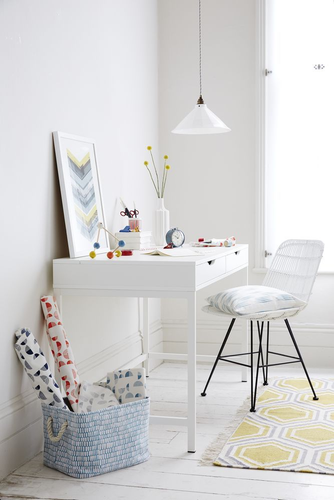 Photo Gallery For Website Stunning home office with white walls and furniture gorgeous fabrics add a pop of colour