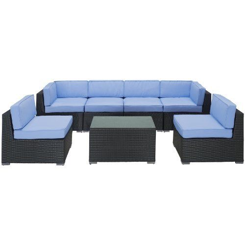 LexMod Aero Outdoor Wicker Patio 7-Piece Sectional Sofa Set in Espresso with Light Blue Cushions by LexMod. $1399.00. Machine washable cushion covers. Synthetic rattan weave. Water and UV resistant. Powder coated aluminum and tempered glass. Introduce aerodynamic comfort with the Aero Outdoor Sectional Set. Welcome your friends and family to a motivational setting of exceptional appeal. Aero is a versatile seating environment built for patio, backyard or pool areas in...