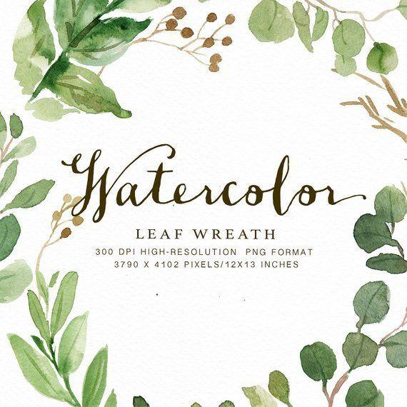 Watercolor Leaf Wreath Clipart Leafy Hand Painted Wedding Design