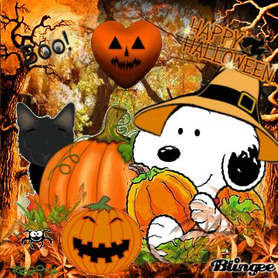 This *GIF* is Action Fun =-= Click on Arrow for Active Snoopy ~:~ Happy Halloween !!
