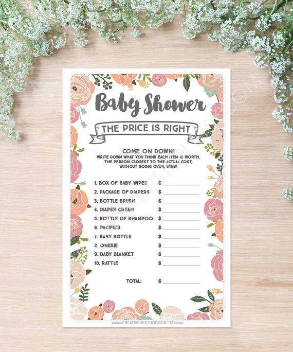 Baby Shower Game   The Price Is Right Game   Baby Shower Game   Print At  Home   Instant Download   Price Is Right   Baby Shower