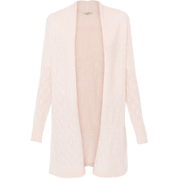 Cortland Park Sophie Pale Pink Cable Knit Cashmere Cardigan ($475) ❤ liked on Polyvore featuring tops, cardigans, pink, cashmere draped cardigan, pale pink cardigan, long sleeve tops, drapey cardigan and chunky cable cardigan