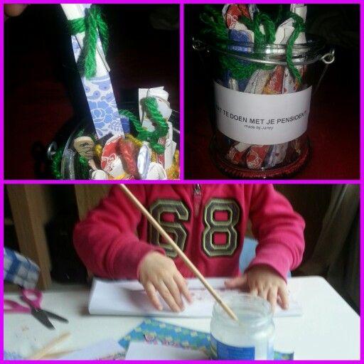 wat te doen met je #pensioen pot. ijsstok verleuken, idee op briefje eraan. #kids #kinderen #knutselen #craft #pension