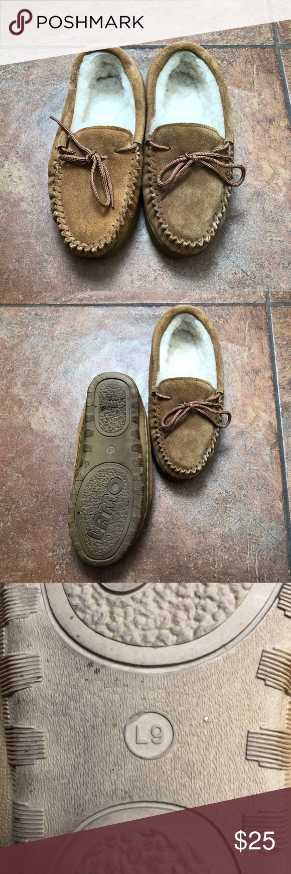 Lamo Sheepskin Slippers. Size 9L Cozy Lamo moccasin slippers, very lightly used.  Super soft with durable soles. These moccasins are awesome for both indoor and outdoor wear! Lamo Shoes Moccasins