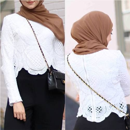 lace top with maxi skirt hijab style