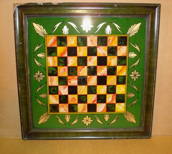 REVERSE PAINTING on GLASS Checkerboard 1890s by theowlsnestofnc, $295.00