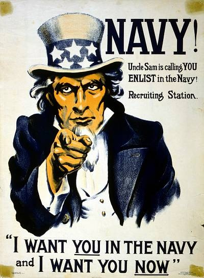 WW1 US Recruiting Poster --- Uncle Sam's getting demanding in his old age.