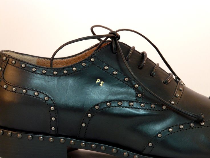 PS=Personal shoes!!! Glossy-black leather shoes with steel studs - custom-tailored - and many more colours...by Eddy Minto Shoemaker in Venice Only in www.mirabiliashop.com The gallery of the italian excellent in craftsmanship!!!