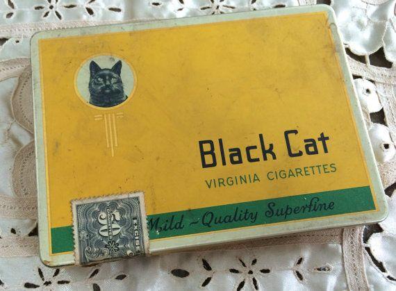 Black Cat Cigarette Box Tobacciana Antique by PoppiesHouse on Etsy