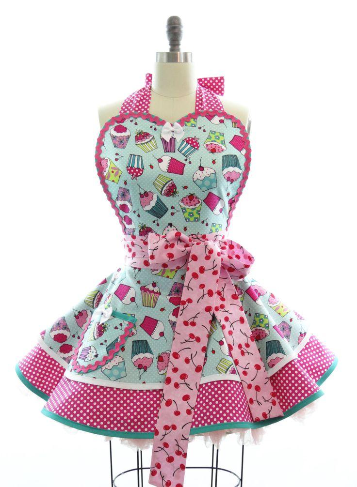 Retro Apron  Cherry Cupcake Sexy Womans Aprons  by bambinoamore, $58.00