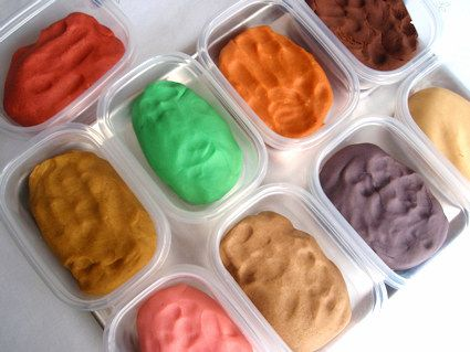 Homemade play dough in winter-themed colors and scents