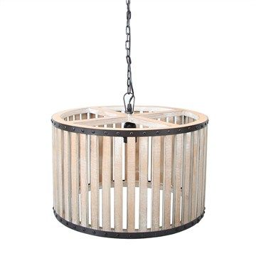 Wooden Craft Pendant Light with Iron Band - Natural