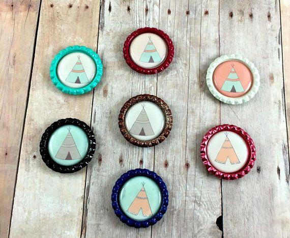 Teepee Magnet Set - Kitchen Magnets - Fridge Magnets - Bottlecap Magnets - Tribal Teepee Set of Magnets - Locker Magnets - Locker Decor