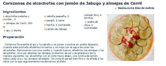 Corazones de alcachofas con jamón y almejas de Carril.