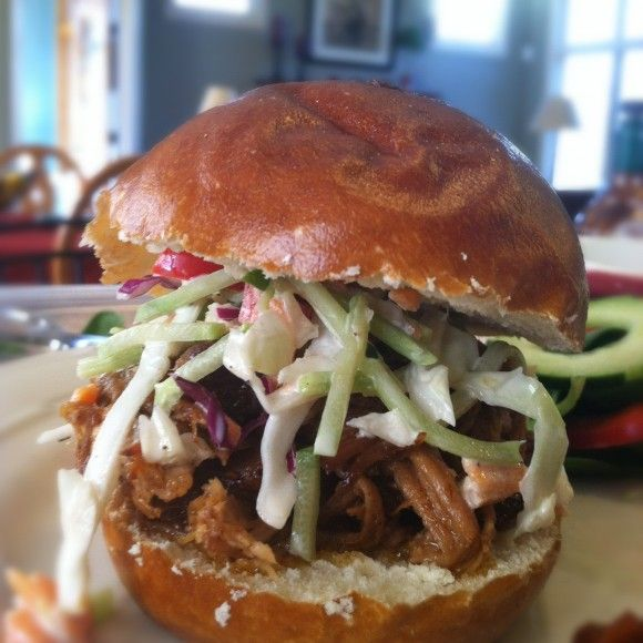 Spicy Dr. Pepper Shredded Pork and spicy slaw