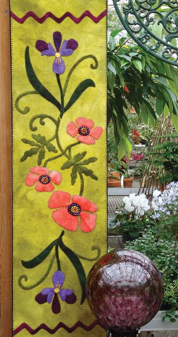 Poppies and Iris Wool Applique Runner by the Wooly Lady